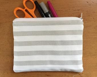 Striped Flat Zipper Pencil Case Pouch