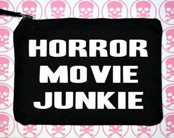 Horror movie junkie makeup bag - horror makeup bag - makeup bag - horror accessories - makeup bags - black makeup bag - accessories bag