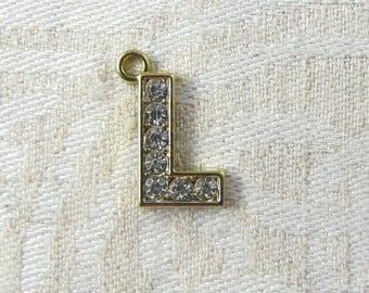 """Gold Rhinestone Letter """"L"""" Charm, 1 or 5 letters per package ALF022l-GL"""
