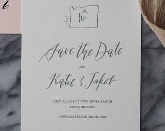 Custom Calligraphy Save the Date Design - Hills