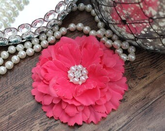 """4 1/2"""" HOT PINK Fabric Peony Flowers Layered with Crystal Pearl Center - Elegant - Beautiful - Hair Accessories - Wedding - TheFabFind"""