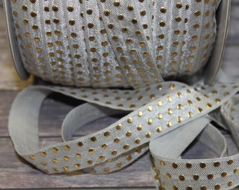 "5/8"" Light Silver /  Shell Gray / Grey with Gold Foil Polka Dots Metallic DIY Headband Supplies Fold Over Elastic FOE per Yard"