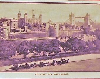 1905 London Tower Bridge Matted Antique Stoddard Print