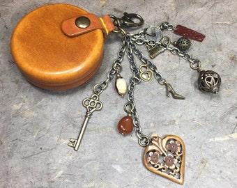 Bag Accessories-Round Coin Purse-Change Purse-Beaded Keychain -Dangle Key Chain-Bag Charm-Handmade