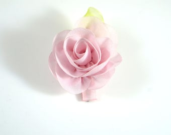Pink Rose Clip. Chiffon Flower Clip. Flower Hair Clip. Easter Bow. Toddler Barrette. Baby Barrette. Flower Barrette. Pink Flower Clip