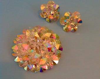 Vintage VENDOME Crystal Cluster Brooch and Earrings Set 1950's 50s