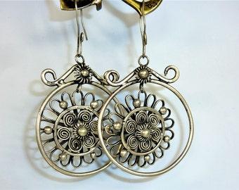 Miao-Earrings, Vintage Traditional Handmade Asian Earrings, Hmong, Vintage Asian Tribal Earrings, Traditional Chinese Earrings