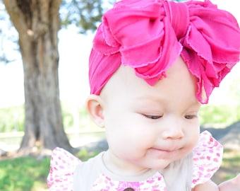 Ruffle Headband- Bright Pink Ruffle Headband- Bright Pink Headband- Bright Pink Ruffles- Headband- Large Bow Headband- BrightPink Ruffle Bow
