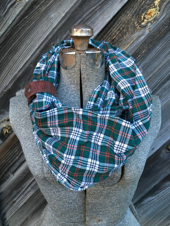green, red and cream plaid flannel eternity scarf with a brown leather cuff - soft, trendy