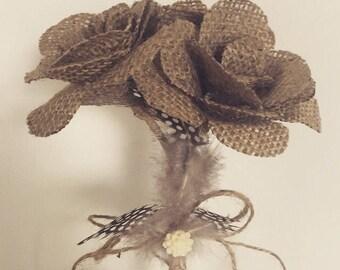 Handmade hessian flower bouquet