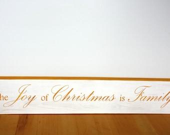 Christmas-the Joy of Christmas is Family-Gold-White-Distressed-Wood-Home Decor-Wall Decor-Family-Joy-Decor