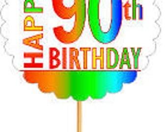 Happy 90th Birthday Rainbow Cupcake Decoration Topper Picks -12pk