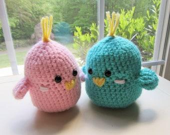 Crochet Lovebirds, Pair of Lovebirds, Nursery Decor, Valentines Day Gift, Wedding Gift, Pretend Play, Amigurumi Set, Handmade Gift,
