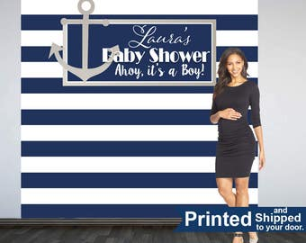 Nautical Baby Shower Backdrop- Photo Booth Backdrop- Ahoy its a Boy Backdrop, Navy Blue and White Stripes Backdrop, Custom Backdrop