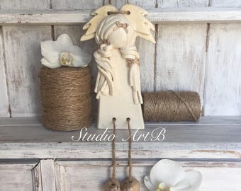 Angel/Gift/Unique Handmade/Decoration/Home/Salt Dough/Love/Best Present/Hanging/ Special Gift/Birthday/Fairy Figurine/Christmas/Kids/Art