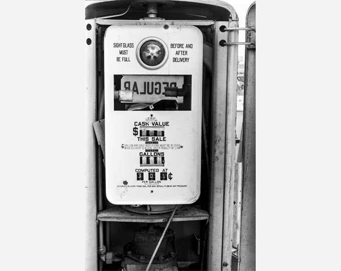 GAS PUMP 1973 | modern fine art photography blank note cards custom books interior wall decor affordable pictures –Rick Graves Spring Green