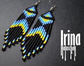 Beaded earrings, Boho style, long fringe earrings, beadwork jewelry, dangle earrings Native American style seed bead earrings blue earrings
