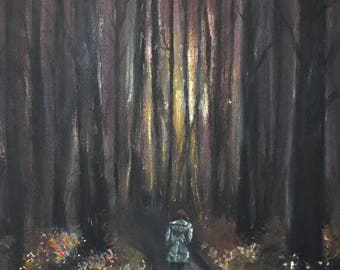 Walking in the Woods Painting