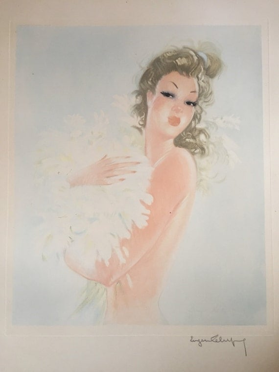 Eugène Antoine Lelièvre (1856-1945) Pinup beauty signed in pencil lithograph