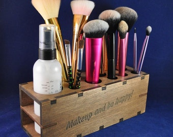 Wooden Makeup Brush or Cosmetic Holder. 10 various sized holes: Brush Storage, Makeup or Cosmetic Storage