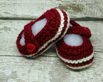 Baby Shoes, Baby Bootees, Booties, Crib Shoes, Baby Mary Janes, Claret & White Heart buttons 3-6 M Ready to Ship Worldwide from UK