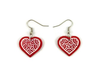 Red hearts earrings with white doodles, modern and graphic earrings, plastic fancy romantic earrings (recycled CD), Valentine's day gift