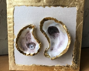 Oyster Shell Art Canvas Acrylic Paint 6x6 canvas Gold Leaf Oyster Shell