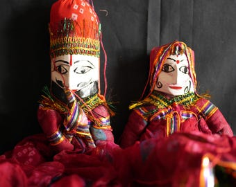Rajasthani Puppet/Doll (pair - red)