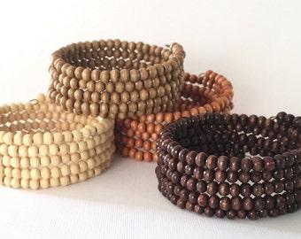 Wooden Bead Wrap Bracelet 4mm