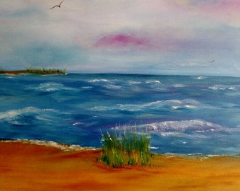 Soft pastel colors beach with waves marsh land wrapped oil on canvas 24 x 30