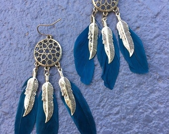 Dreamcatcher earrings, teal feathers and gold tone charms