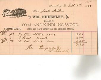 Vintage Billhead, Coal and Kindling Wood, Harrisburg, Pennsylvania, 1886