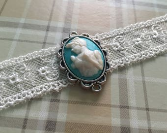 Gorgeous Handmade Princess Choker. Blue and White Cameo, White lace choker. Cinderella
