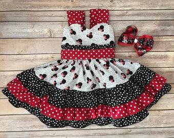 Minnie Mouse Ruffle Dress, Minnie Mouse Party Dress, Disney Dress