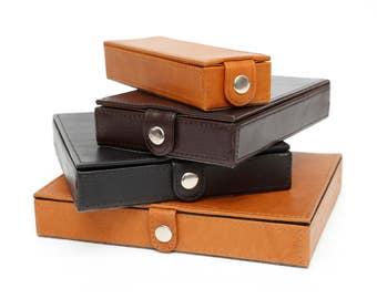 Personalized Custom Handcrafted Genuine Handmade 4 medium-wide barrel pens(slim cigars)Leather Storage Box - Black+Custom Colours[PENBOX04]