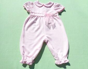 vintage rose cottage baby girls easter dressy romper size 6-9 months see measurements pink rib