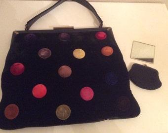 Vintage Mel-Ton Black Velvet Hand Bag Purse Rainbow Buttons