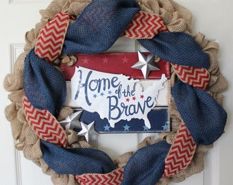 Patriotic Wreath, 4th of July Wreath, Summer Wreath, American Wreath, Home of the Brave Wreath,