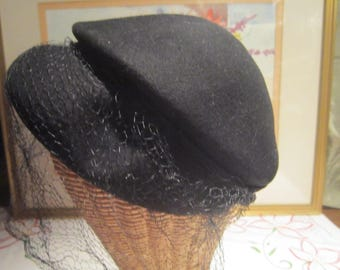 Black Wool Cloche Vintage 1950's Merrimac Hat Corp Union Made Formal Evening Church Wear Hat Accessories - Hat058