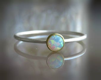 silver opal ring - gemstone rings for women - skinny ring - delicate opal ring - white opal ring