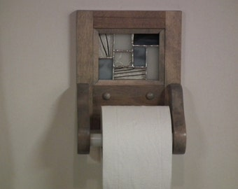 Paper rack toilet in wood and stained glass
