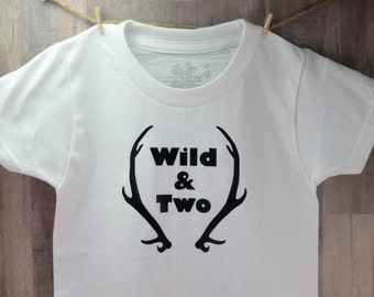 Wild & Two Year Old Birthday Shirt 2T-3T T-Shirt Thin Cotton Funny Novelty Tee Children Gift Cute Clothing Boy Clothes Toddler Deer Horns