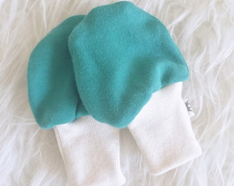 SALE - Organic Baby Scratch Mittens - Teal - Knit