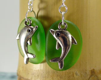 925 Sterling Silver Dolphin Earrings Seaglass Earrings Beach Earrings Beach Jewelry Summer Jewelry Dolphin Jewelry Sea Earrings