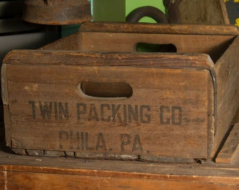 Philadelphia Wooden Crate Antique Wood Crate Rustic Home Decor Industrial Storage TWIN PACKING CO Phila Pa Advertising Box Art Organizer
