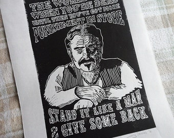 Al Swearengen Linocut Print
