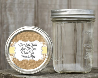 Mason Jar Lid Labels - Glossy Round Sticker Label Tags - Custom Baby Favors - Choice of Color - Burlap and Lace Monogram Stickers