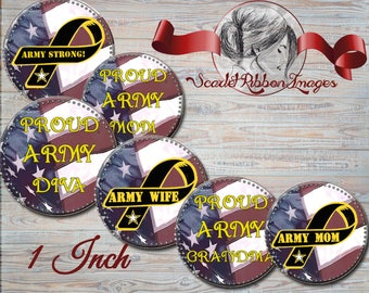 ARMY STRONG -Army Family Bottle Cap Images 1 inch round circles for the perfect pendant, bow, charm,necklace and craft