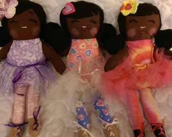 17 in. Handmade Ballerina Doll, Dark Brown Skin, Black Hair