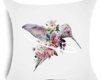 Hummingbird Floral Pretty Cushion Cover Polyester Cotton